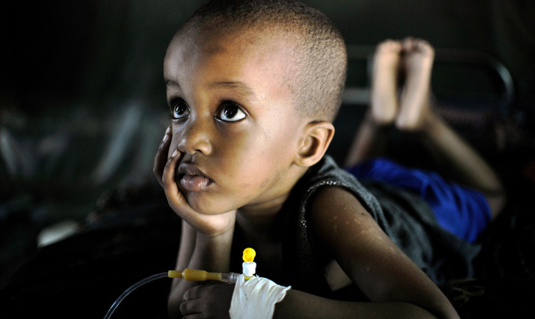 young child recovers from malaria