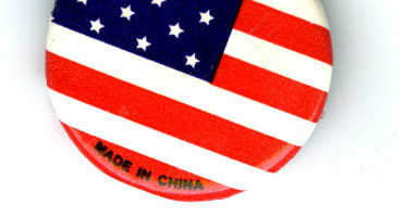 US flag button made in China