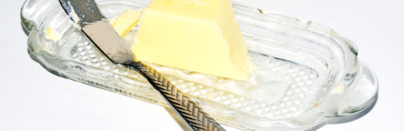 butter, dish, and knife