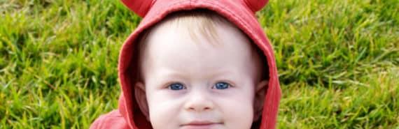 baby in devil sweatshirt
