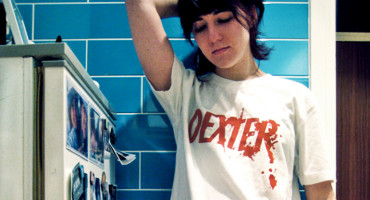 woman wears Dexter shirt