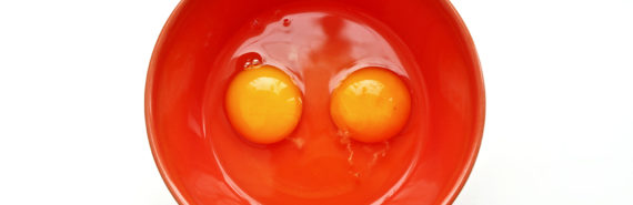 two eggs in a red bowl