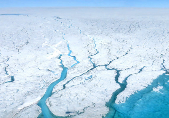 Meltwater channels in Greenland