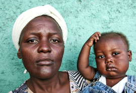 mother and son at Haiti clinic