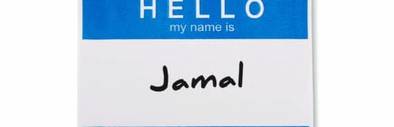 name tag says Jamal