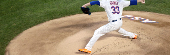 Matt Harvey of the Mets pitching