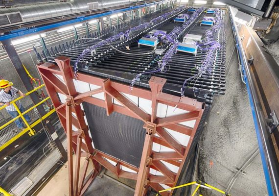 The 300-ton NOvA neutrino detector sits 350 feet underground at Fermilab and measures the properties of the neutrino beam as it starts its 500-mile journey to the far detector in Minnesota. (Credit: Reidar Hahn/Fermilab)