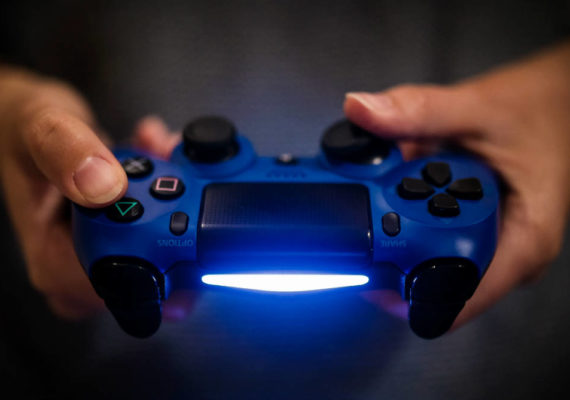 blue video game controller
