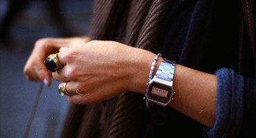 woman wearing a wrist watch