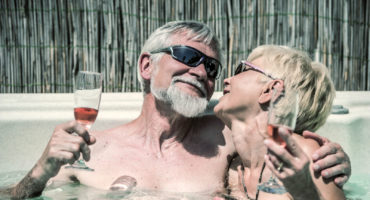 older couple in a hottub