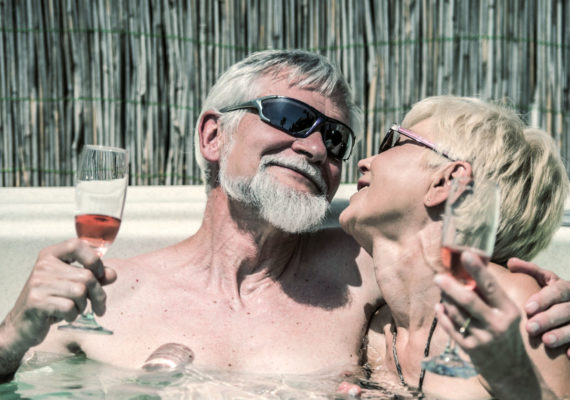 older couple in a hottub