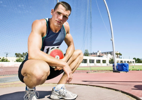 discus player and his giant knee