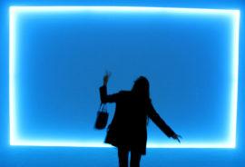 Doug Wheeler installation - blue light box