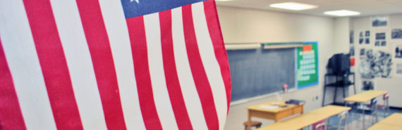 US flag in a classroom