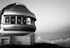 keck observatory in b/w