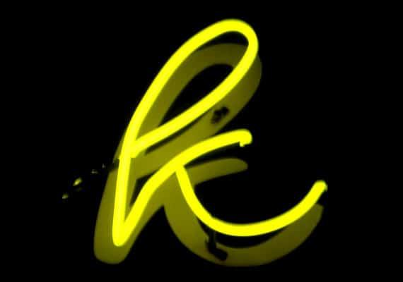 neon yellow letter K