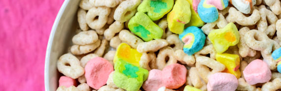 sugary cereal on pink