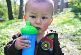 toddler holds a cup