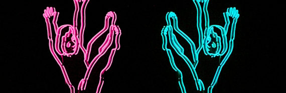 neon figures fall on black