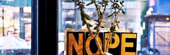 jade plant and NOPE sign in city
