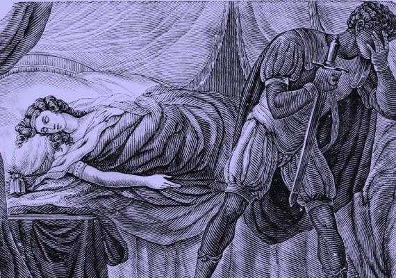 Othello woodcut with purple