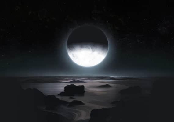 Pluto in moonlight