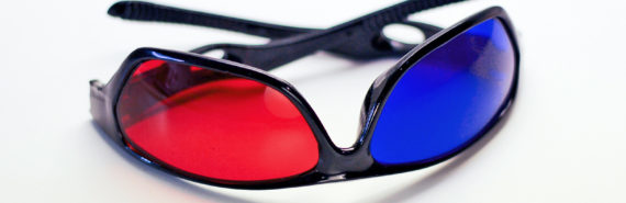 glasses with red and blue lenses