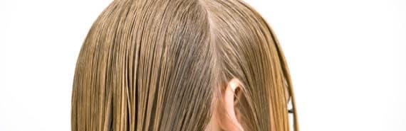 part in wet hair