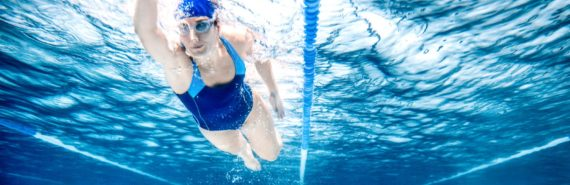 swimmer in pool - blue
