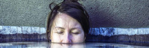 woman's face in water