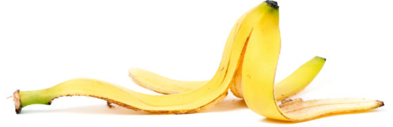 banana peel on white