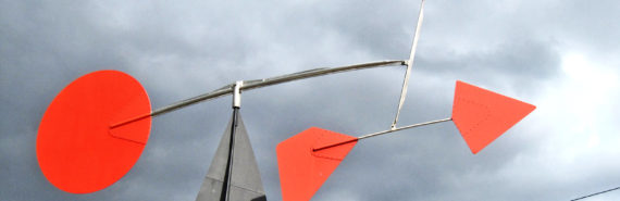 Calder sculpture and storm clouds