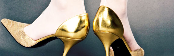 gold heels - fidgeting