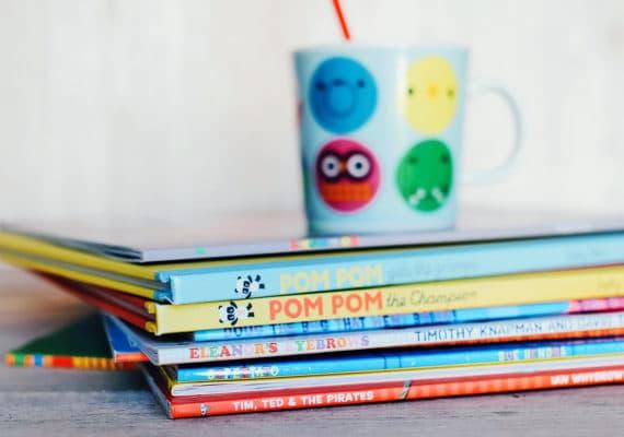 children's books and mug