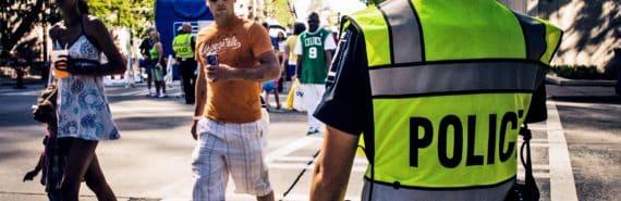police officer at crosswalk
