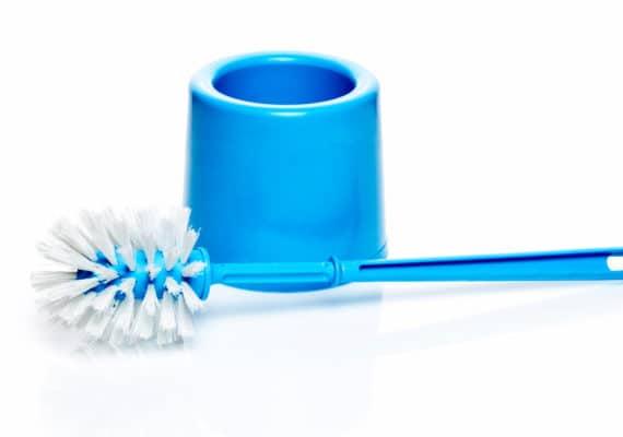 blue toilet brush