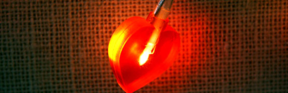 heart light on string