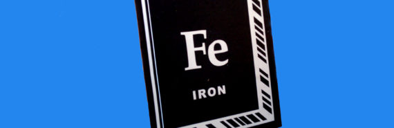 iron sticker on blue