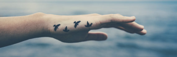 bird tattoo on woman's hand