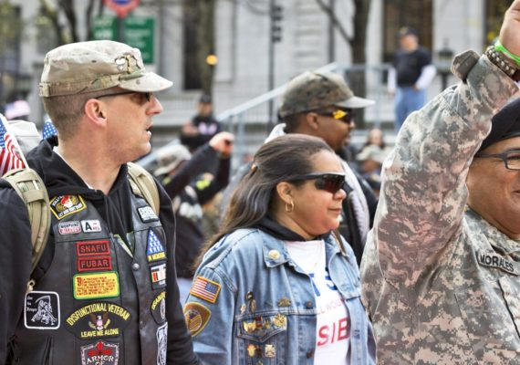 Members of Iran and Afghanistan Veterans of America (IAVA) march in the 2015 Americas Parade up 5th Avenue on Veterans Day in Manhattan. (Credit: Glynnis Jones / Shutterstock.com)