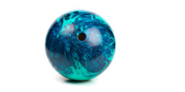 blue bowling ball on white