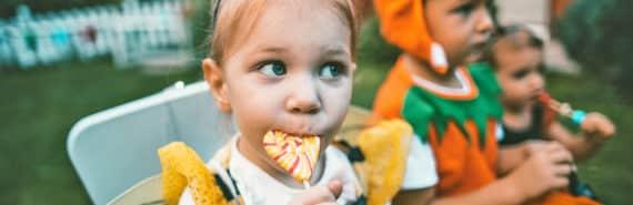 little girl isn't sharing candy