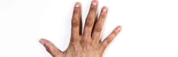 hand on white