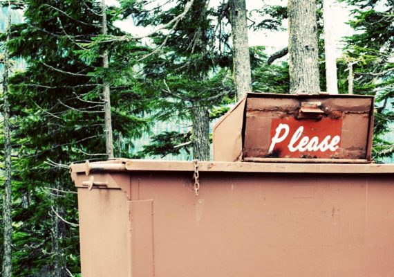 please on dumpster in forest
