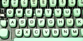 green typewriter keyboard