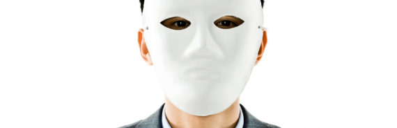 lawyer wears blank mask