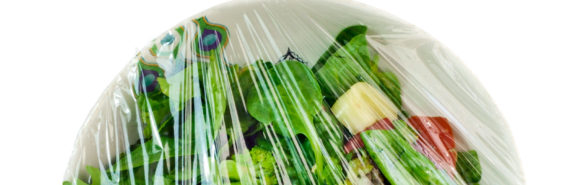 leftover salad under plastic wrap