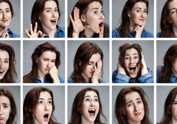 woman's portrait with different expressions