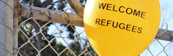 "balloon says ""welcome refugees"""
