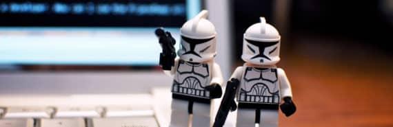 stormtrooper minifigs on keyboard